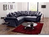 BRAND NEW DUAL SIDED CORNER SOFA SUITE IN BLACK AND GREY CHENILLE FABRIC, 3 AND 2 SEATER LEATHER