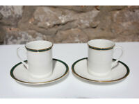 2 Exquisite Royal Doulton Oxford Green 2 Coffee Cups and Saucers Vintage Gilded TC 1191