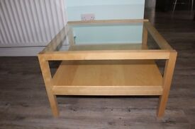 Beech coffee table with glass top and shelf