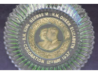 Unusual Green Glass Molded Plate Coronation of King George VI and Queen Elizabeth 12th May 1937