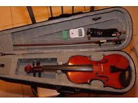 Full Sized Violin with shoulder rest, electronic tuner and rosin