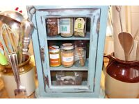Vintage wall cabinet `shabby chic` style glass fronted