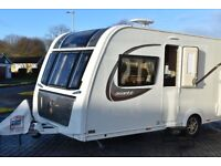 Elddis Avante 554, 4 berth caravan with transverse fixed bed. As new, not yet 2yrs old