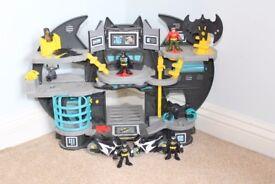 Imaginext Batcave with Batman & Robin figures & 2 Batman figures & Motorbikes