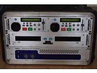 KAM KCD 1000 CDG CARAOKE PRO TWIN DJ CD PLAYER WITH MACRO 0830 PROFES/HIGH POWER AMP 1200W