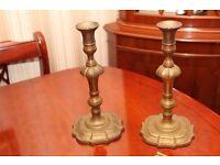 Pair of vintage antique brass candlestick clock garnitures