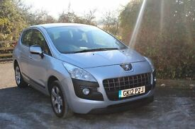 FROM £35 PER WEEK 2012 PEUGEOT 3008 SPORT 5DR HATCHBACK 1.6 DIESEL AUTOMATIC SILVER £30 TAX FSH