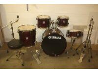 Yamaha Stage Custom Advantage Nouveau Cranberry Red 5 Piece Drum Kit 22in Bass ~Zildjian ZXT Cymbals