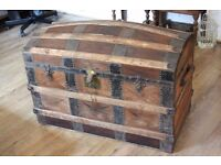 Antique Rustic Victorian Wooden and Metal Trunk Chest
