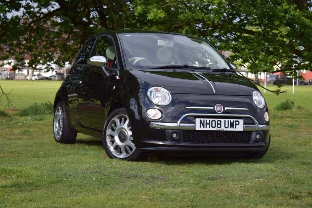 2008 fiat 500 lounge 1 2 petrol 3 dr manual black color red leather seats white interior. Black Bedroom Furniture Sets. Home Design Ideas