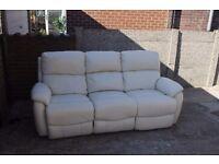 Three Seater Electric Cream Leather Recliner Sofa
