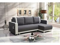 New Corner Sofa Bed CARLOS Grey~White UNIVERSAL CORNER SIDE- FREE DELIVERY