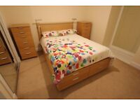 """4'6"""" double divan Boxerbed bed and two 6 drawer tallboy chest of drawers, vgc, beech"""