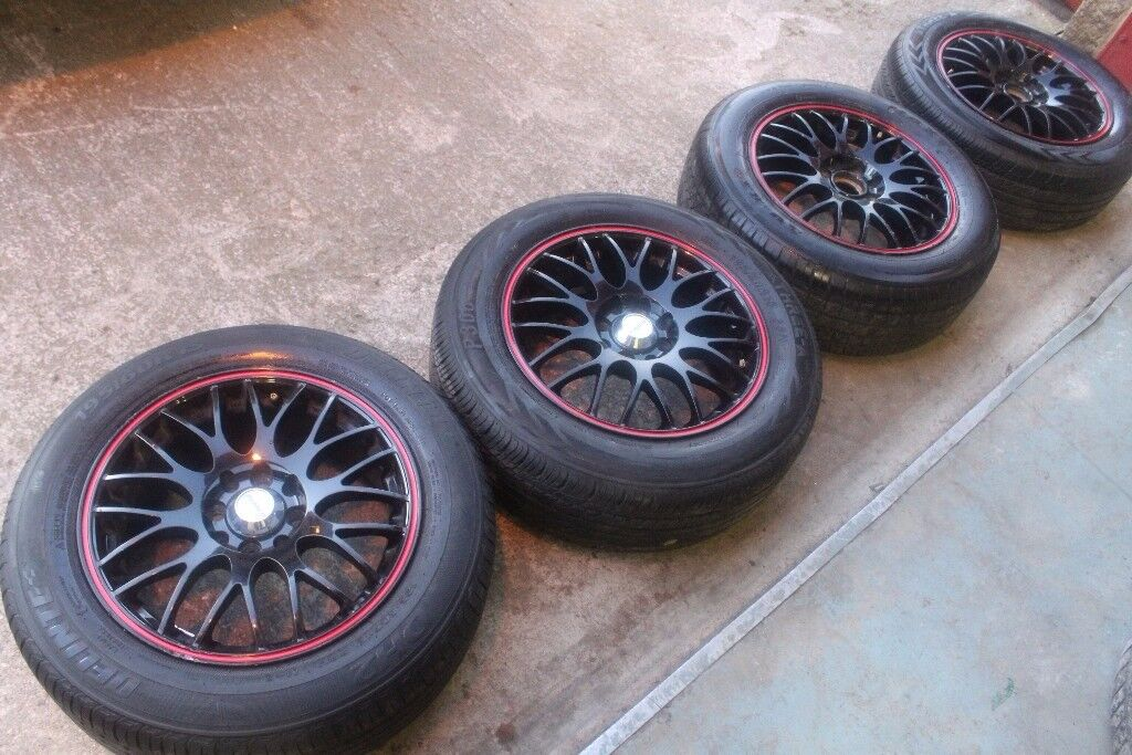 """DEZENT 15""""MULTI FIT UNIVERSAL 4X100 4X108 ALLOY WHEELS + FOUR TYRES HONDA TOYOTA FORD RRP £400.00+"""