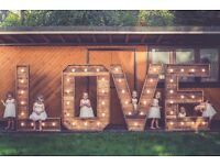 FOR HIRE: 5ft illuminated marquee LOVE letters for weddings/events/parties/photography props