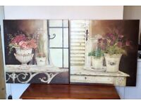 A set of two larges pictures on box canvas