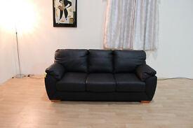 Ex-display Alberta black leather sofa bed