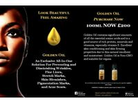 GOLDEN OIL 100ML, DIMINISHES WRINKLES, FINE LINES, BLEMISHES, STRETCH MARKS AND PIGMENTATION MARKS