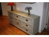 Shabby Chic distressed rattan sideboard