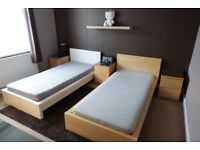 2 x IKEA Malm Single Bed, 2 x 6 Chest of Drawers and 3 x Bedside Table / Cabinet
