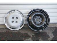 4 steel wheels and wheel trims.