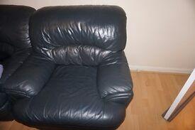 3+2+1 Set of Dark Blue Leather Sofas