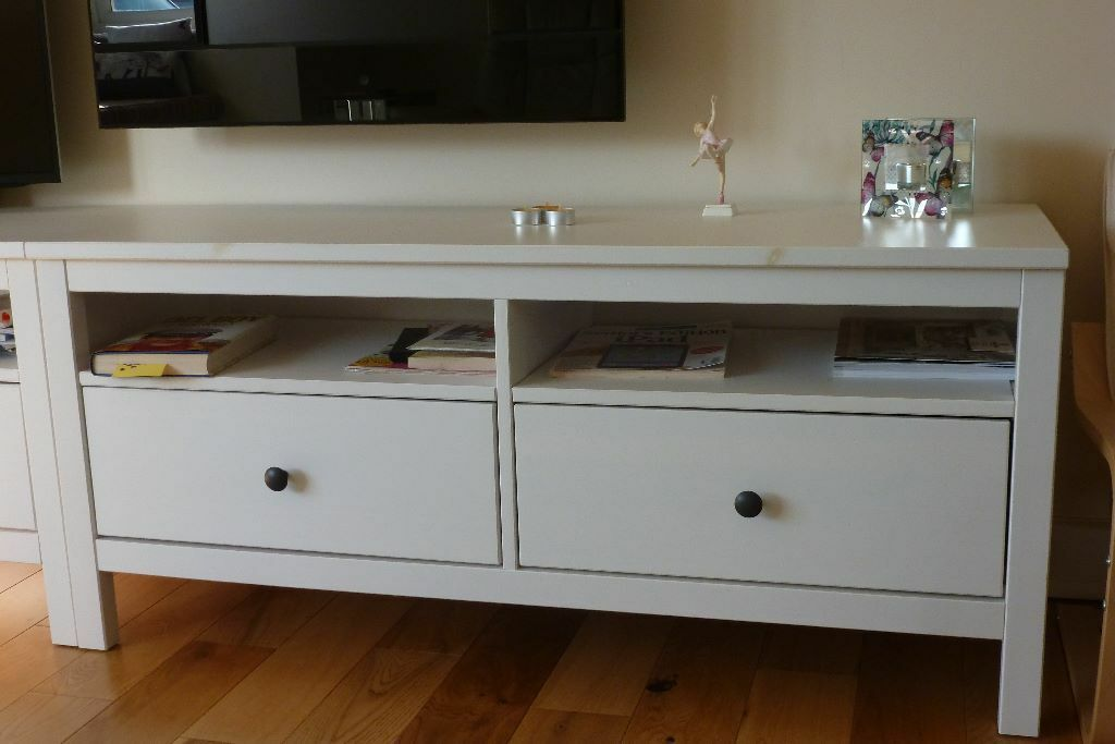 ikea hemnes tv stand sideboard in white two in. Black Bedroom Furniture Sets. Home Design Ideas