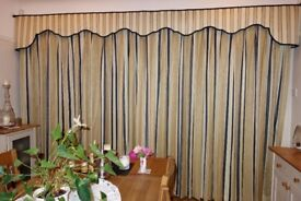 Curtains, full length, hand made, triple pinch pleats, lined