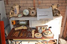 Myford ML8 Wood Turning Lathe for sale. Some accessories are included. Mounted on stand/cupboard