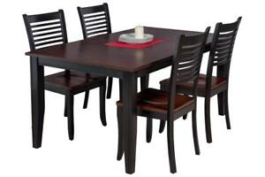 Aden Five Piece Dining Set In Distressed Light Cherry And Black