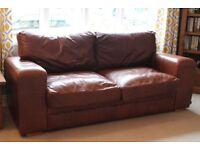 Indigo Furniture Chunky Square 3-Seater Leather Sofa