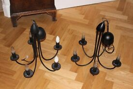 Pair of metal electric chandilier/candelabra light fittings