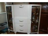 Shabby chic bureau,display cabinet painted white good condition buyer collects.