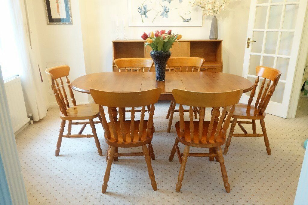 Natural Finish Solid Wood Expandable Dining Table With 6 Chairs