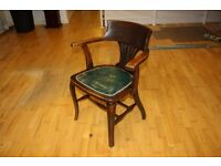 Antique Vintage Old Arm Chair Green Brown Leather Sit Wood