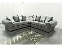 💯MEGA SALES VERONA GREY FABRIC CORNER SOFA SUITE / 3+2 SEATER SETTEE AVAILABLE FOR DELIVERY