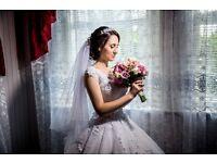 Beautiful Wedding Dress White Colour UK Size 6-8 professionally wet cleaned