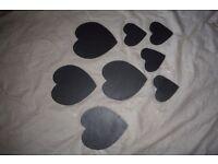 4 slate Heart shaped place mats and coasters