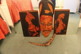 African Mask and Two Wall Hangings