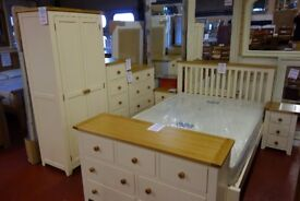 New Ex display cream & oak 4ft6 double bed was £399 Clearance £179 LAST ONE