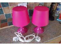 Pair of pink Ikea bedside lights