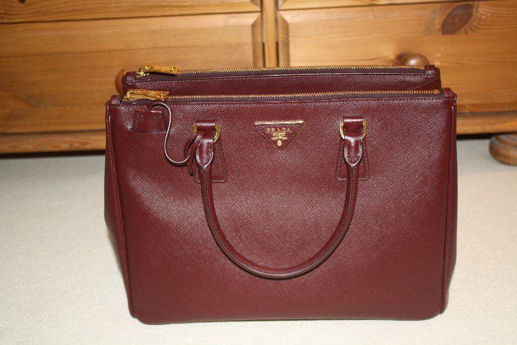 Genuine Prada Saffiano Leather Handbag Burgundy Granato Perfect Condition Like New