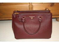 Prada saffiano double zip leather bag - burgundy/granato - perfect condition/like new