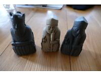 Stone effect unusual set of chess pieces