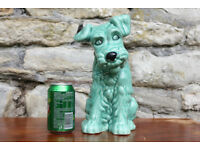 Large 11 Inch Sylvac Dog 1380 Green Terrier 28cm High Pottery Dog Rare & Collectible Unusual Slyvac