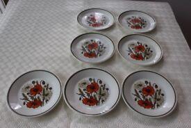 R&J Meakin Studio Pottery, Poppy Design - 7 plates - 7inch diameter