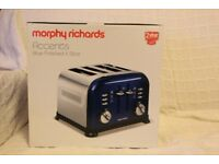 RARE Morphy Richards Accents blue polished 4 slice toaster - new, boxed