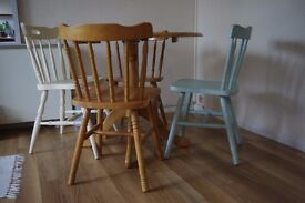 Wooden farmhouse chairs and table