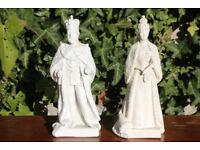 Pair of Rare Unusual Antique Royal Ceramic Figurines King Edward VII and Queen Alexandria 1902