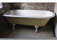 cast iron bath, claw feet, free standing